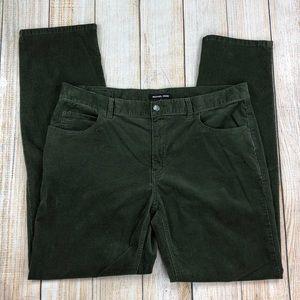 MICHAEL KORS Green Slim Straight Corduroy Pants